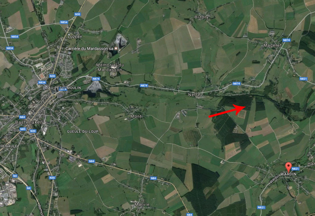 The arrow on the map below shows the approximate location of his death. At the left of the map is Bastogne.