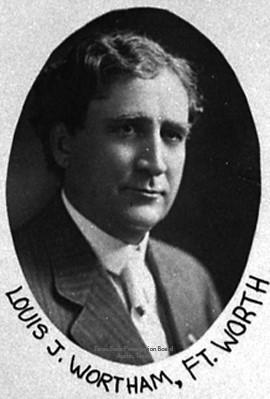 Louis J. Wortham, member of the Texas Legislature (1909-1915) for Tarrant County. Photo from Texas House of Representatives.